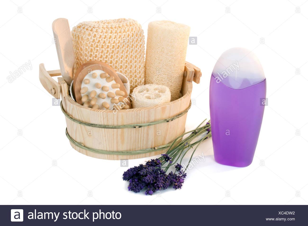 Shower gel with lavender - Stock Image