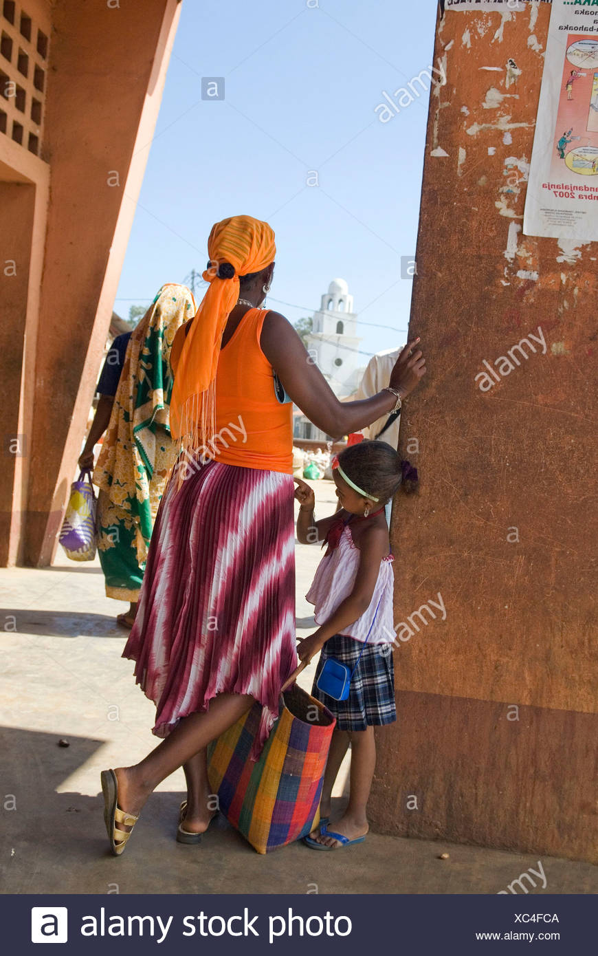 market square, Hell-Ville Andoany, Nosy Be island, Republic of Madagascar, Indian Ocean - Stock Image