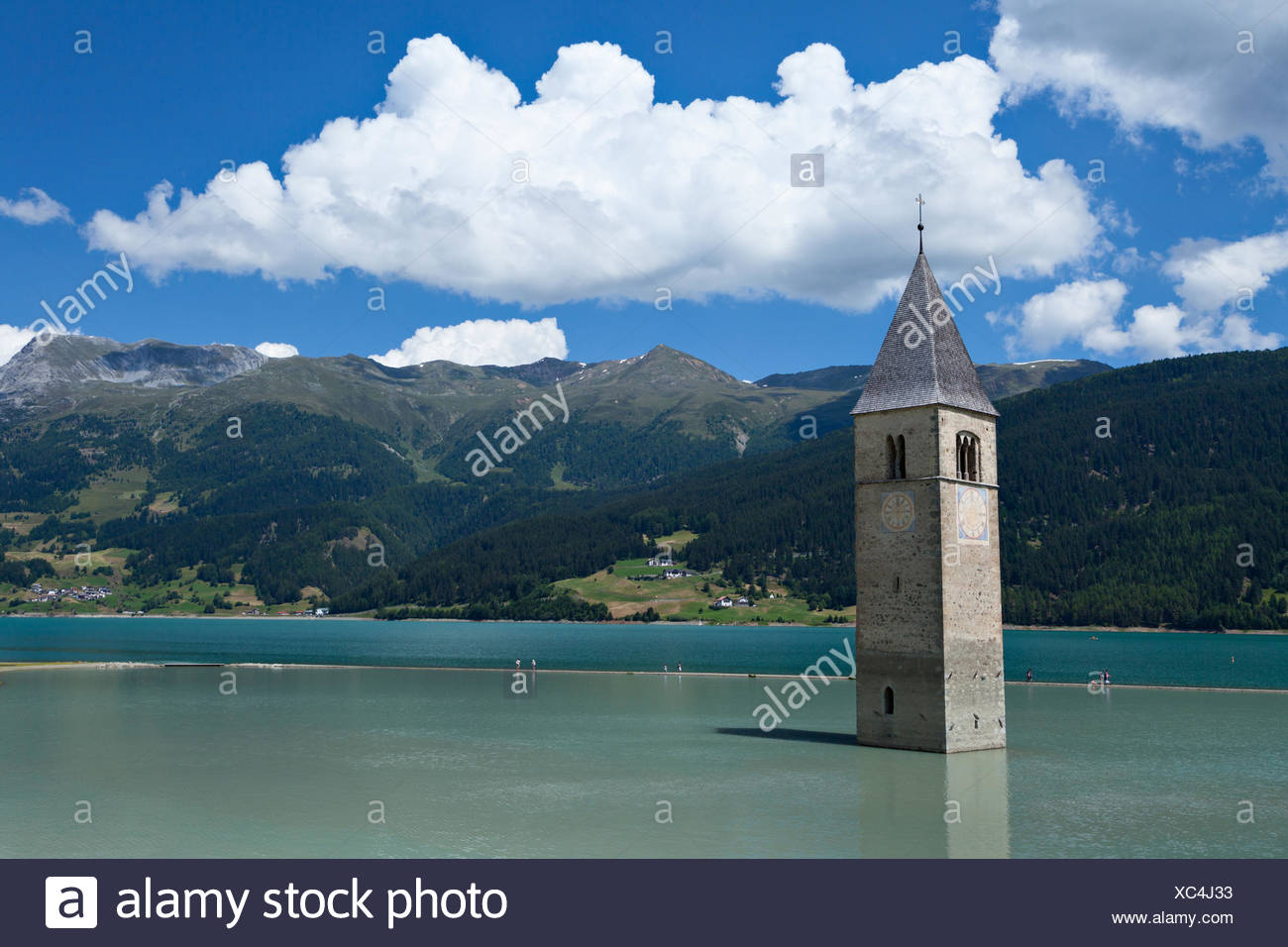 Tower at Reschenlake - Stock Image