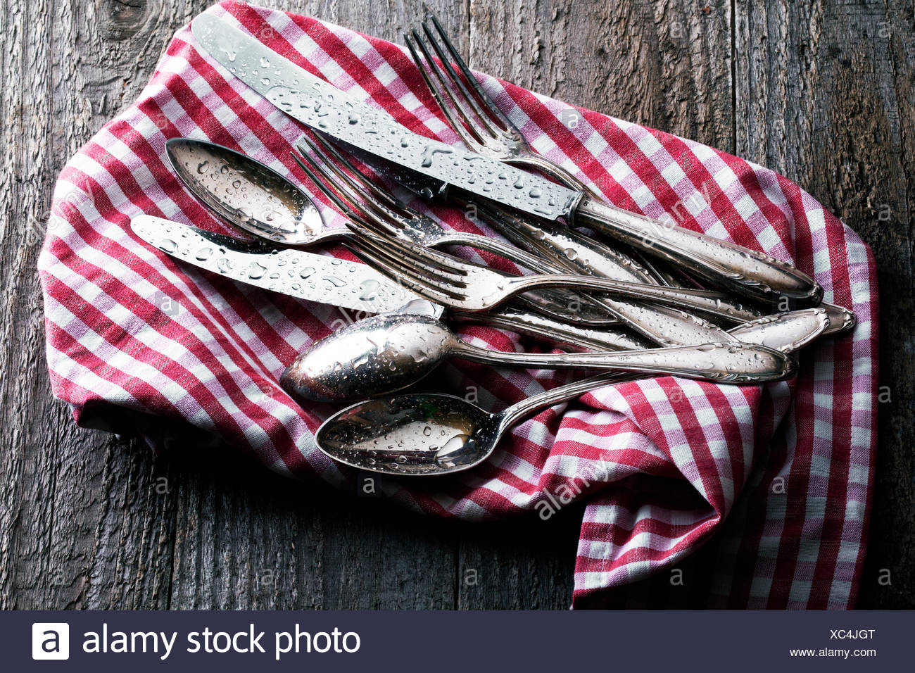 Freshly cleaned, wet silverware on checked tea towel - Stock Image