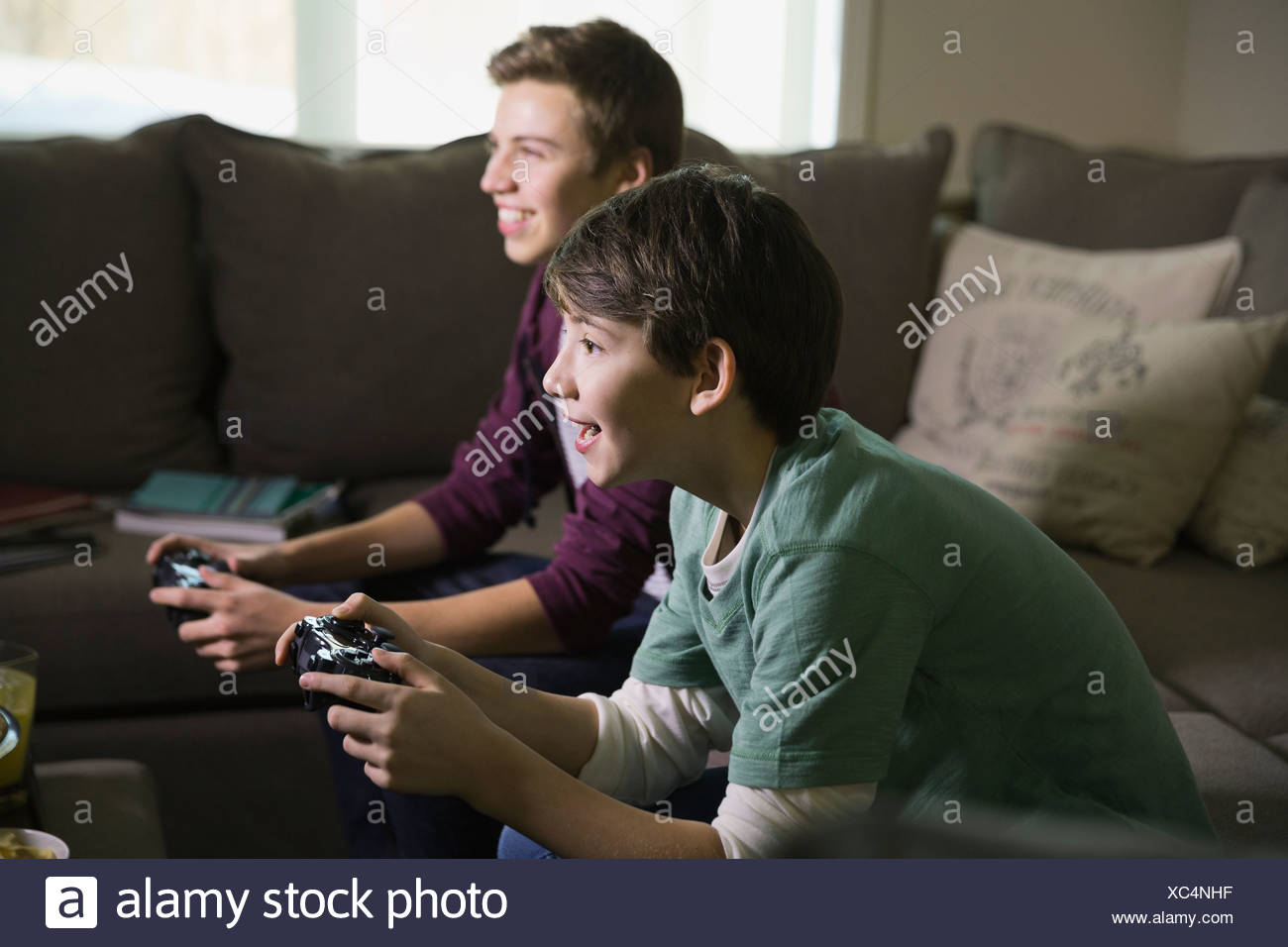 Brothers playing video games in living room - Stock Image