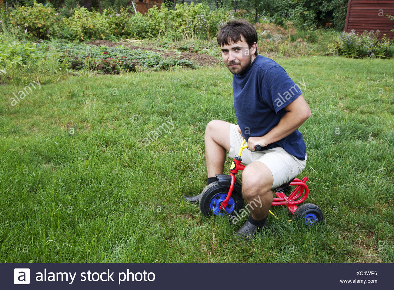 Adult man tying to ride on a small tricycle - Stock Image