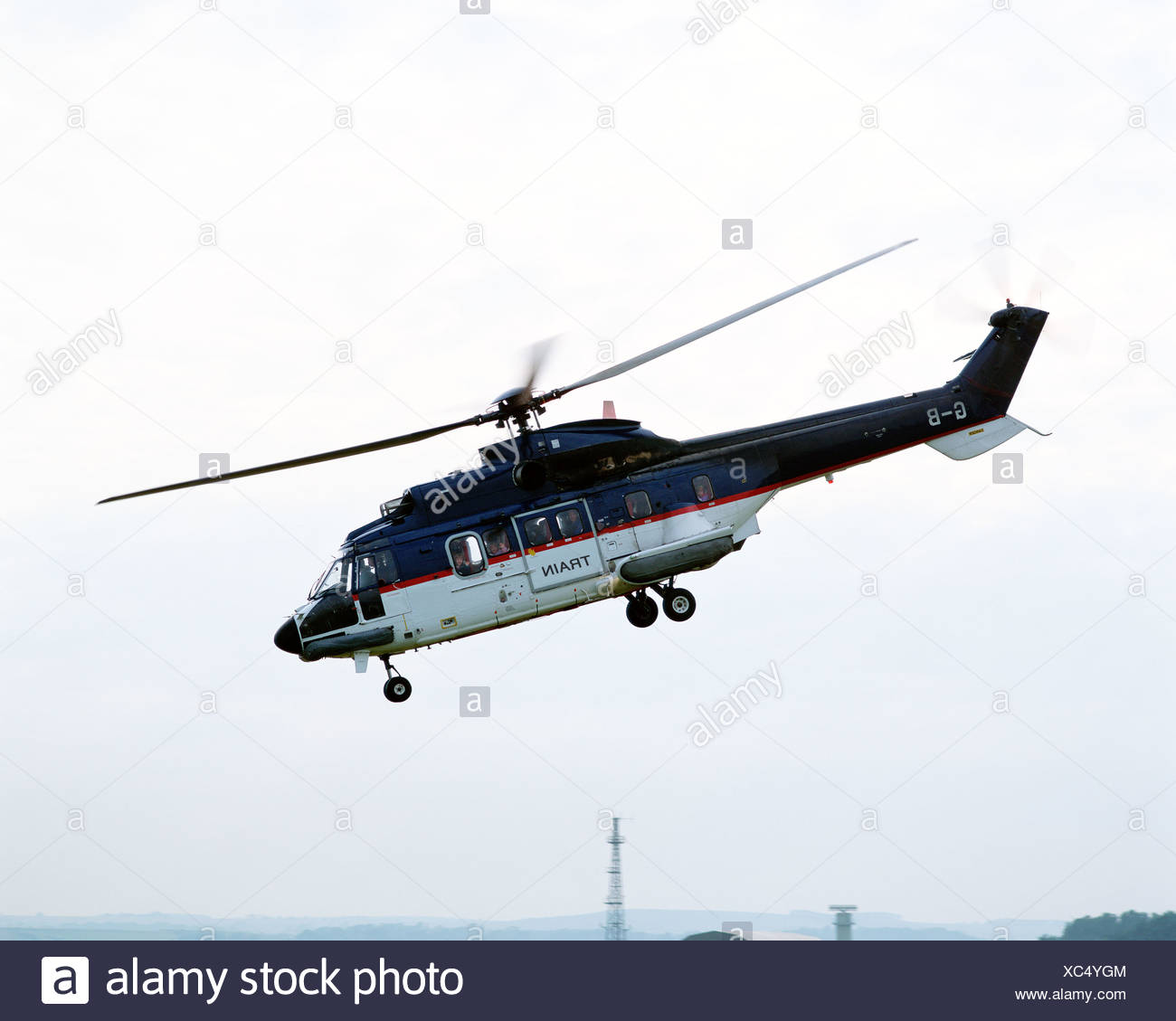Helicopter landing - Stock Image