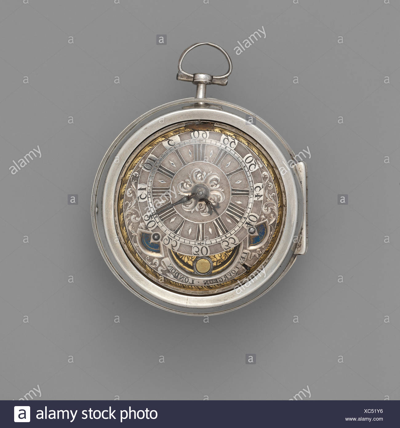 Watch. Maker: Watchmaker: David Lestourgeon (cc. 1698, died 1731); Maker: Case maker: Possibly by Hugh Richardson (recorded 1704) or; Maker: Case - Stock Image