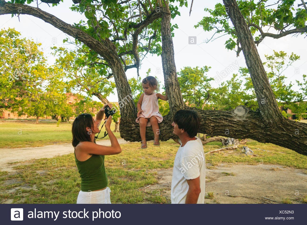 Family taking pictures in park - Stock Image