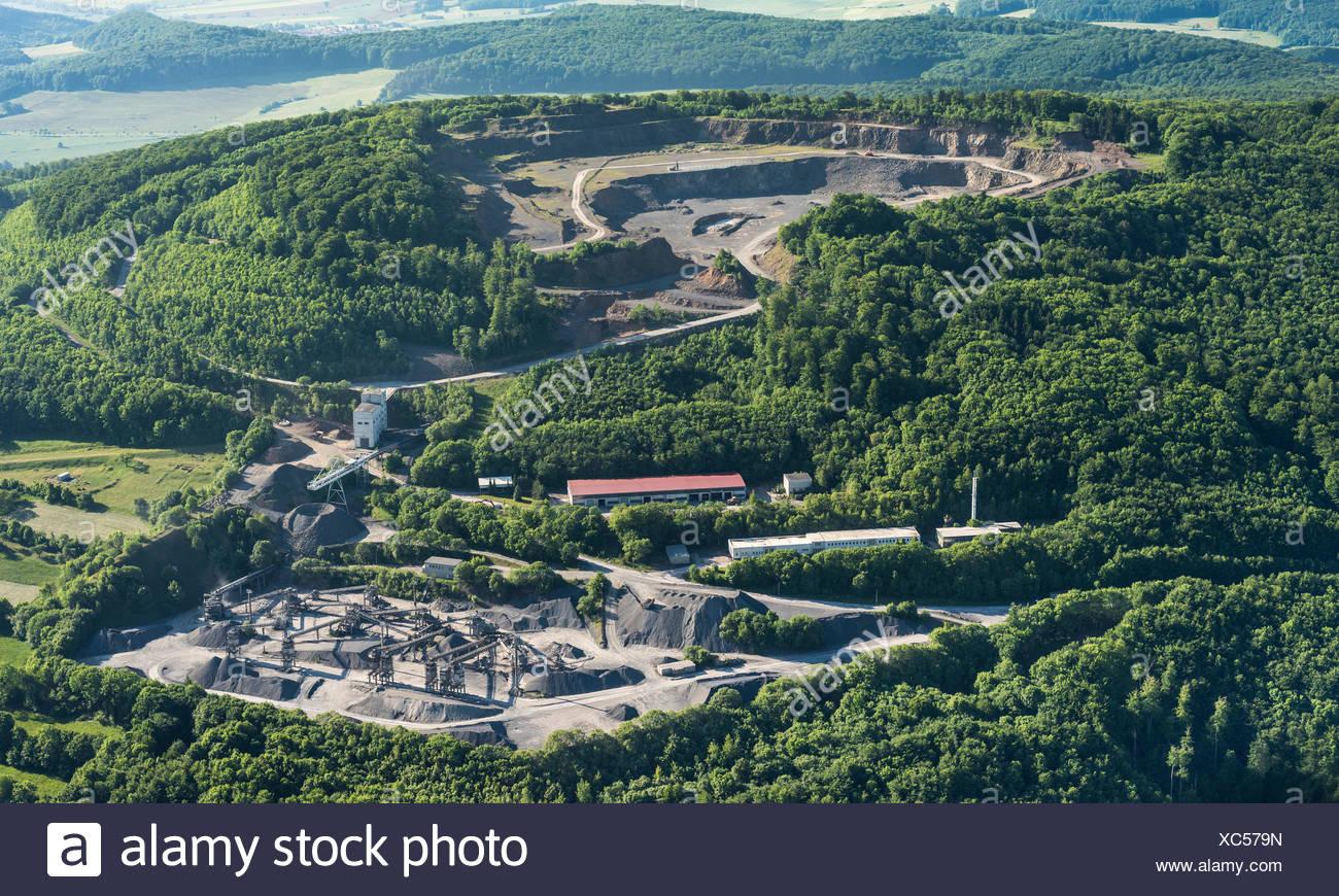 Basalt mining on Dietrichsberg, Mitteldeutsche Hartstein-Industrie GmbH, Vacha, Rhön, Thuringia, Völkershausen, Thuringia - Stock Image