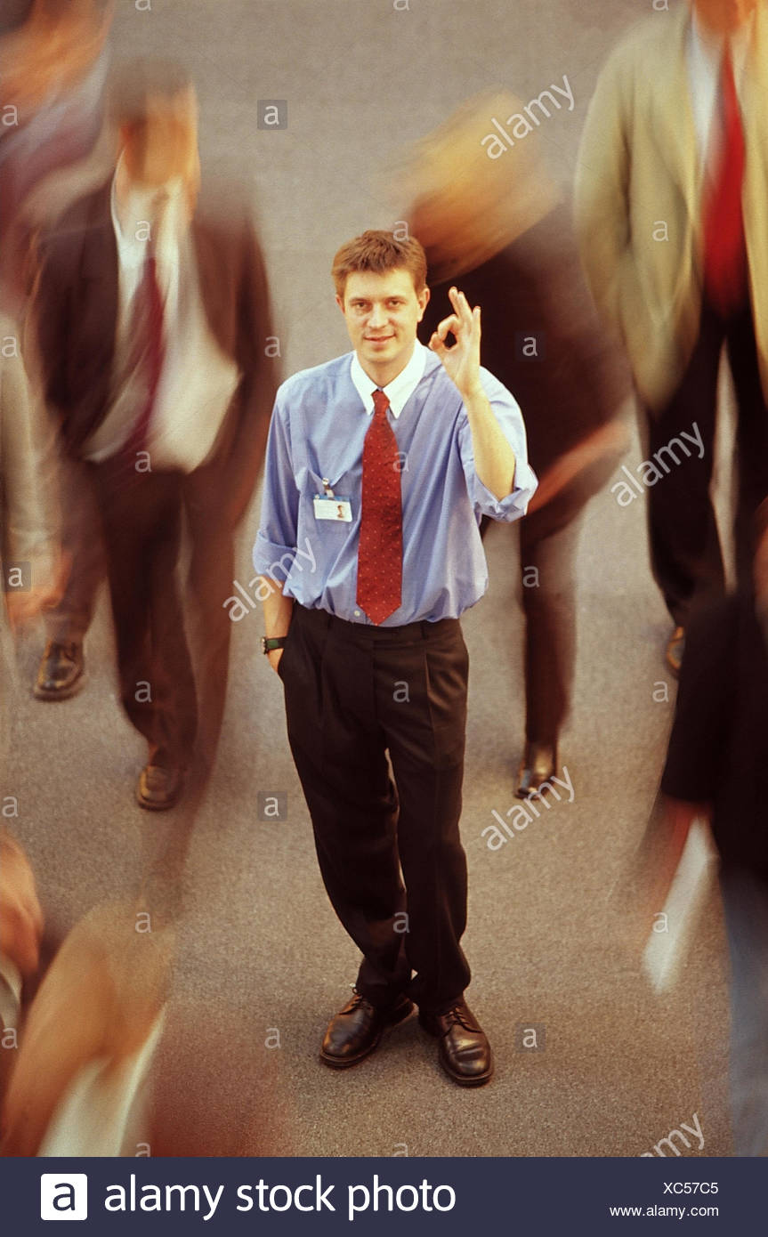 Stock exchange, manager, gesture, very well, manipulated, trade, hectic rush, stress, stressful, crowds people, man, suit, careless, hand figures, successfully, profits, profit, achieves, economic situation, stock market, stock exchange transaction, specu - Stock Image