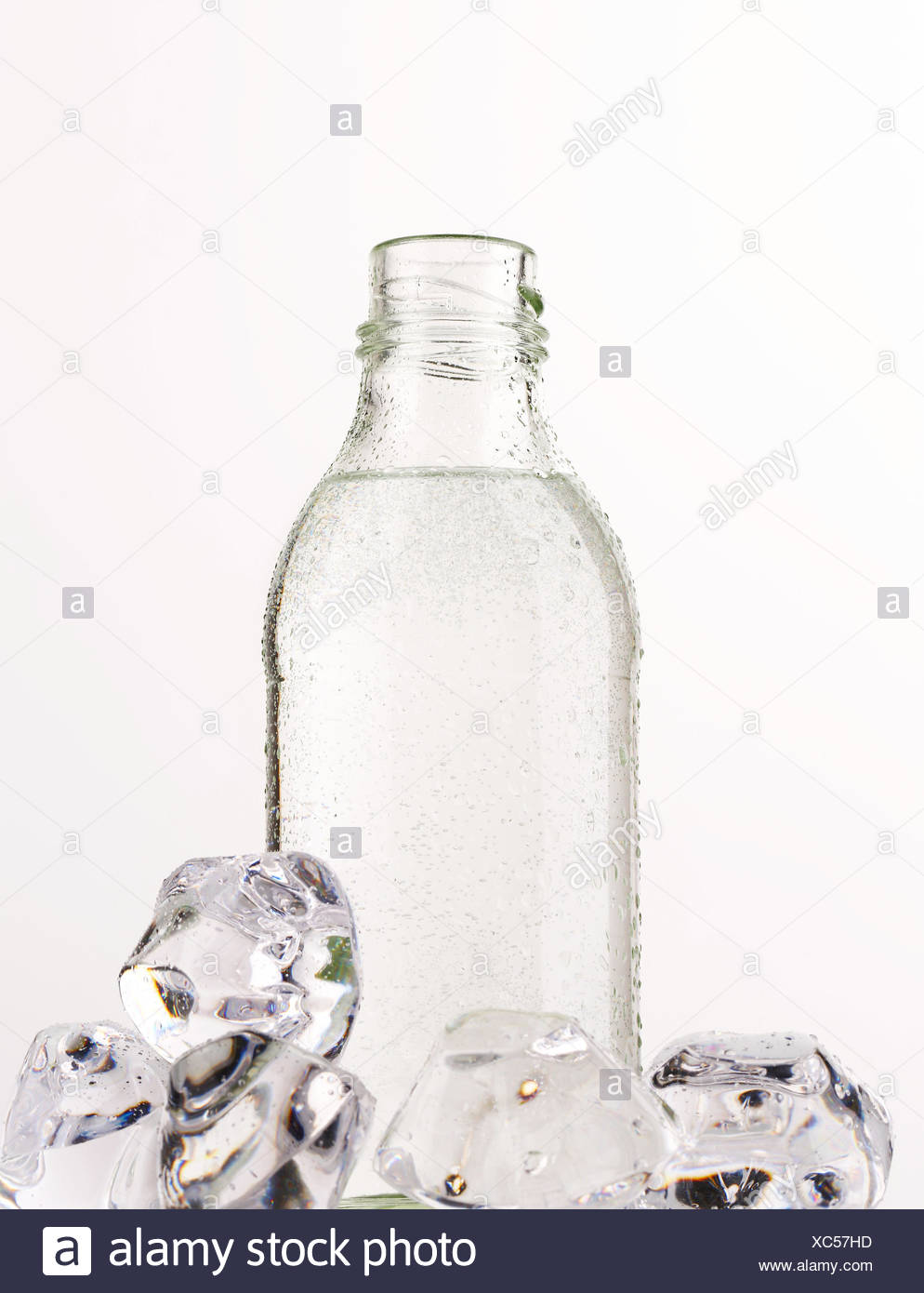 Purified water in a glass bottle - Stock Image