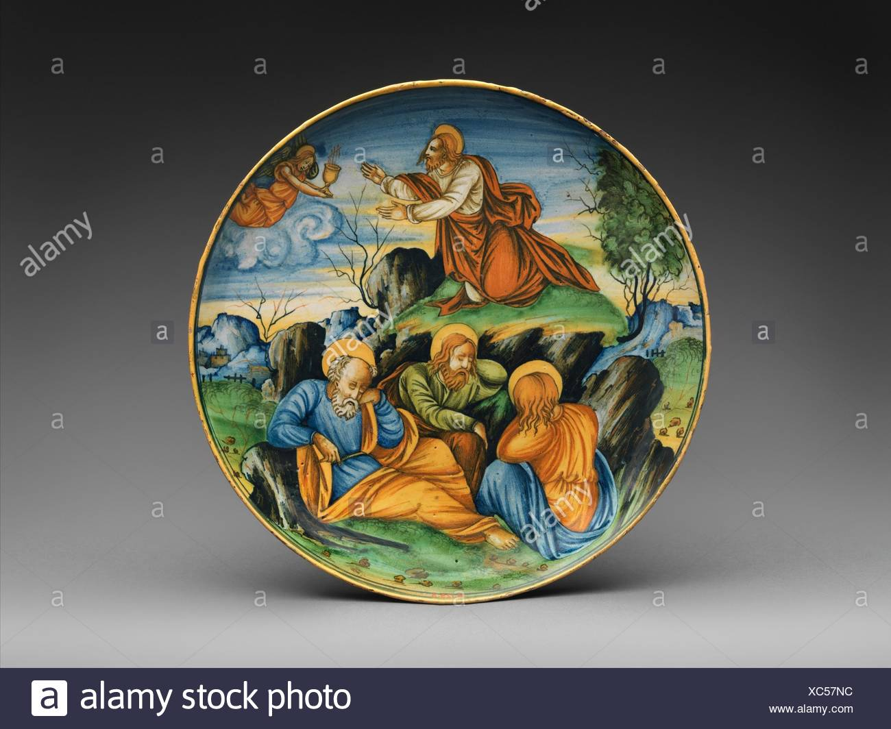 Shallow bowl with The Agony in the Garden. Artist: Baldassare Manara (Italian, Faenza, active first half 16th century) and/or associate; Date: dated Stock Photo