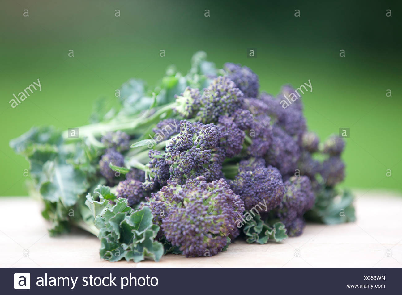 Purple sprouting broccoli on a wooden chopping board Stock Photo