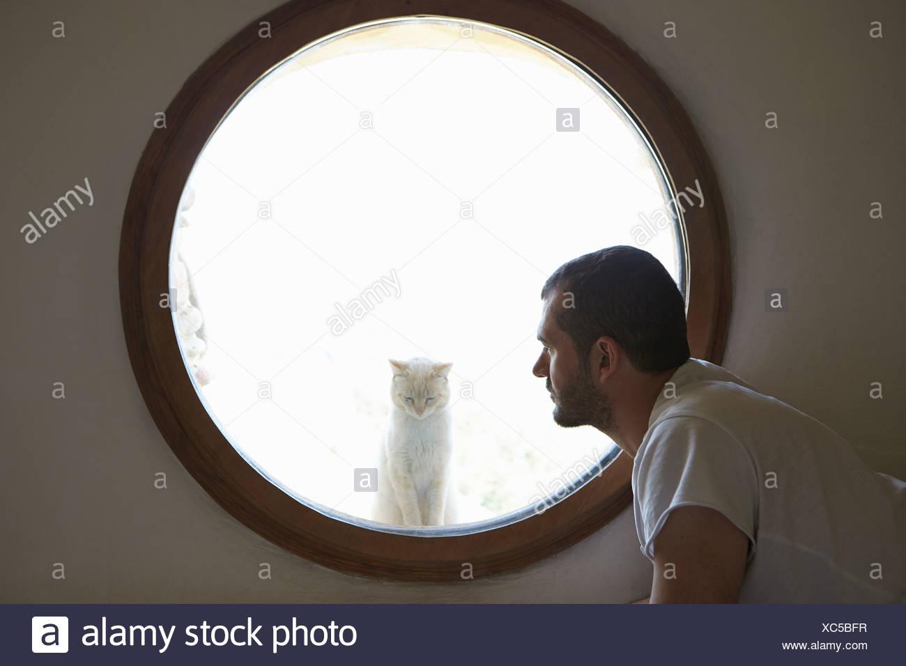 Mid adult man gazing at cat through circular window - Stock Image