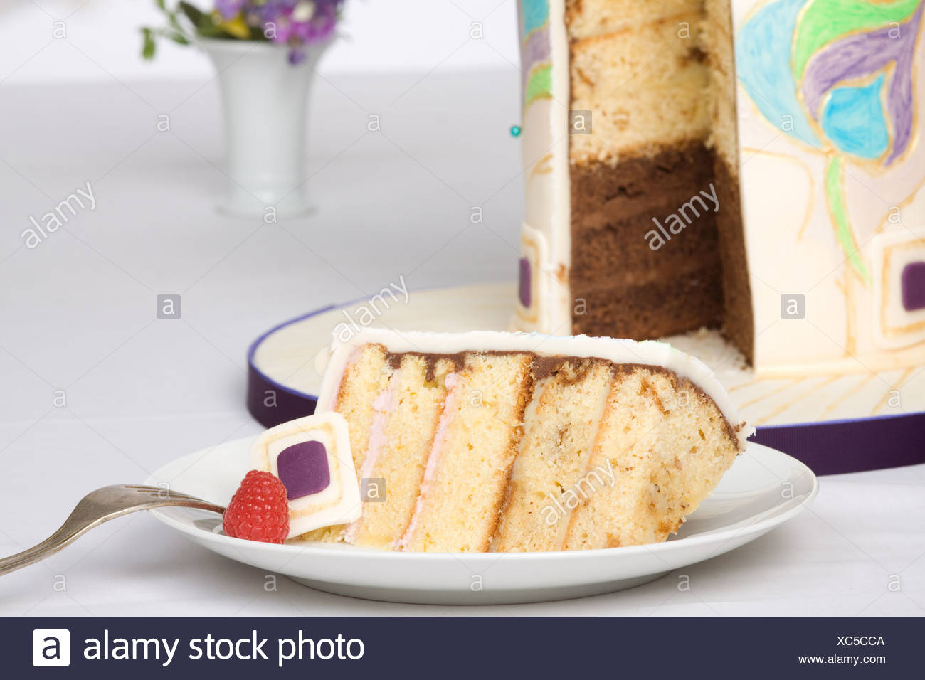 Wedding cake with marzipan coating and decoration Stock Photo ...