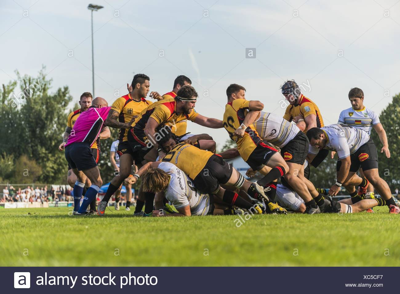 Tackling and ruck, friendly rugby match, Germany against La Rochelle, Fritz-Grunebaum-Sportpark, Heidelberg, Baden-Württemberg - Stock Image