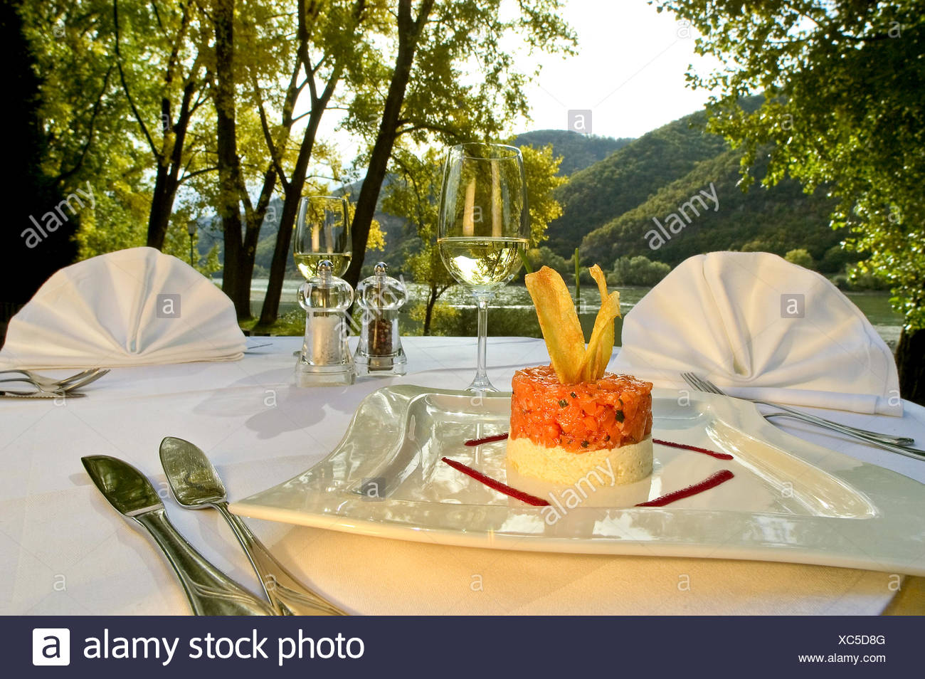 Terrace With Well Laid Table And A View Of The Lake, Austria   Stock