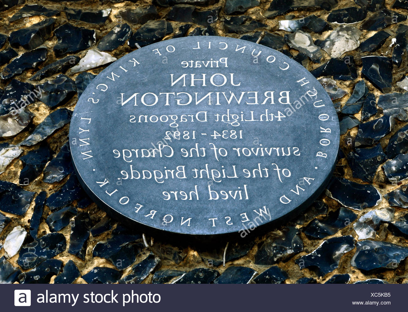 Charge of the Light Brigade, private John Brewington, 4th Light Dragoons Regiment, British soldier, memorial plaque, Feltwell, Norfolk, England, UK - Stock Image