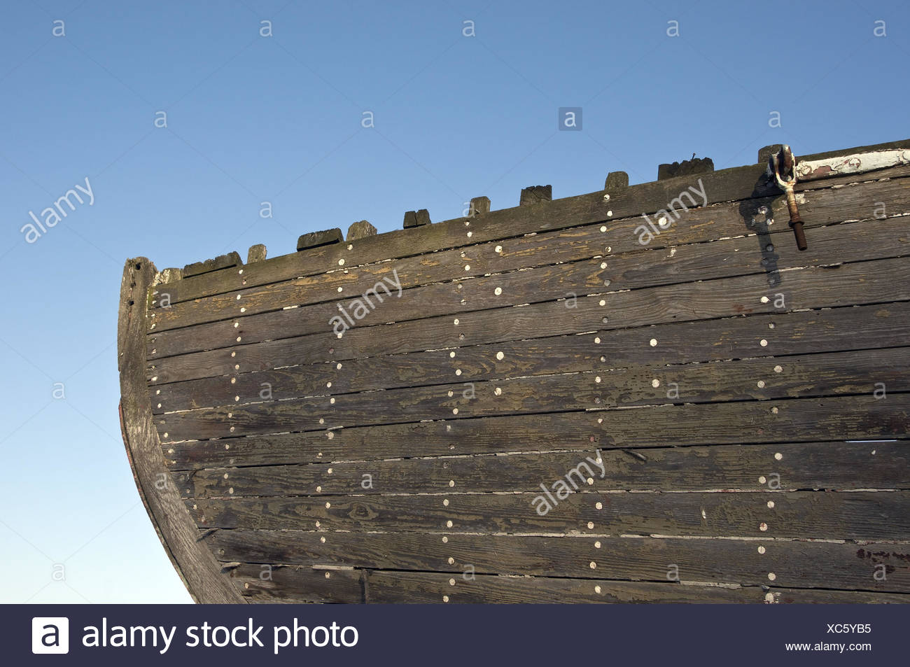 Conception,old longboat,bug,detail, - Stock Image