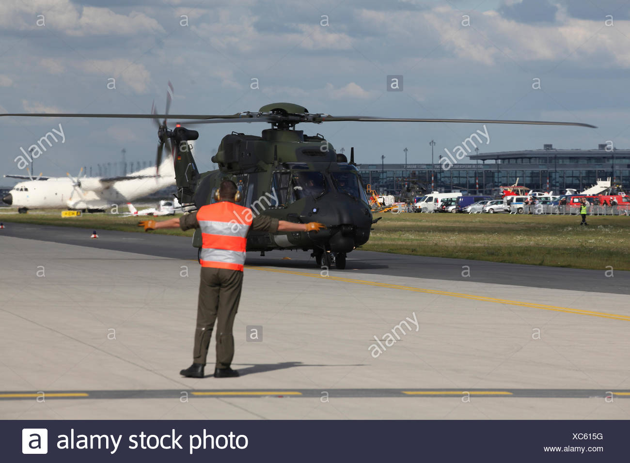 A German military helicopter landing, ILA Berlin Air Show, Berlin - Stock Image