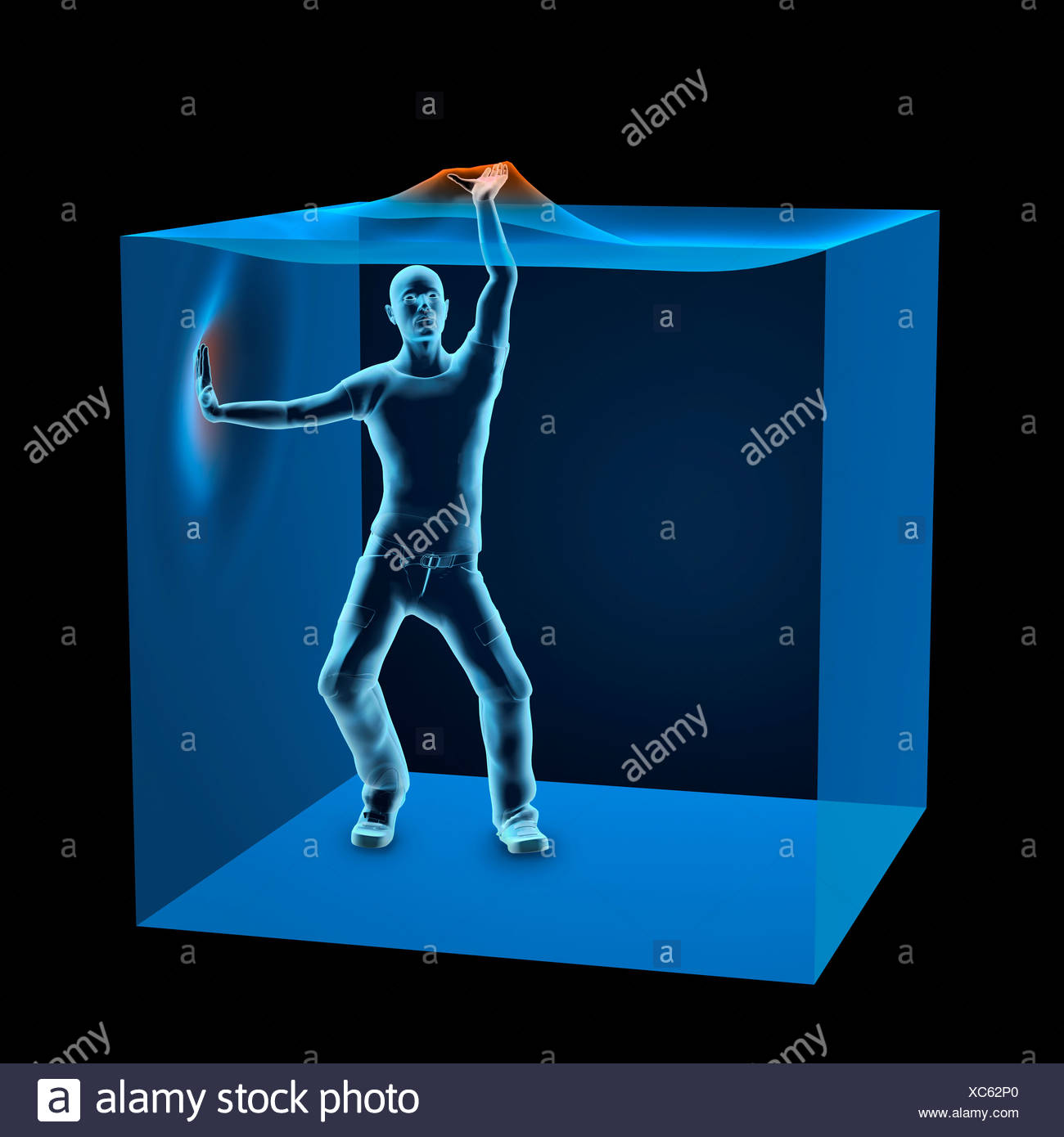 3D Computer Illustration of man trapped inside blue transparent cube - Stock Image