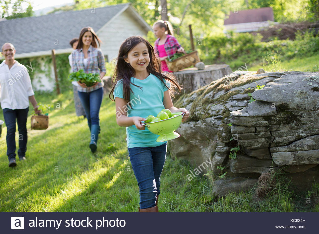 Organic farm. Summer party. A family carrying baskets and bowls of food across the grass. - Stock Image