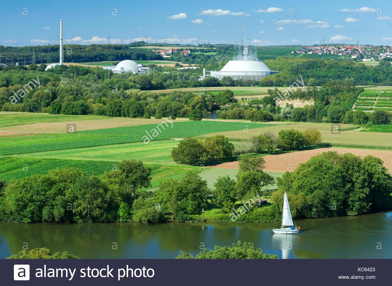 Germany, Baden-Wurttemberg, Neckar west home, nuclear power plant Neckar west home, EnBW Kernkraft GmbH, view from the vineyards near home Kirch on the Neckar - Stock Image