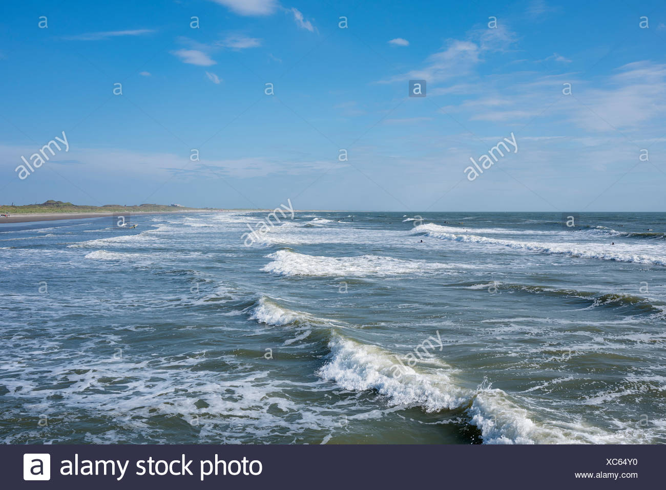 Waves at the beach, North Sea coast near Wijk aan Zee, North Holland, Netherlands - Stock Image