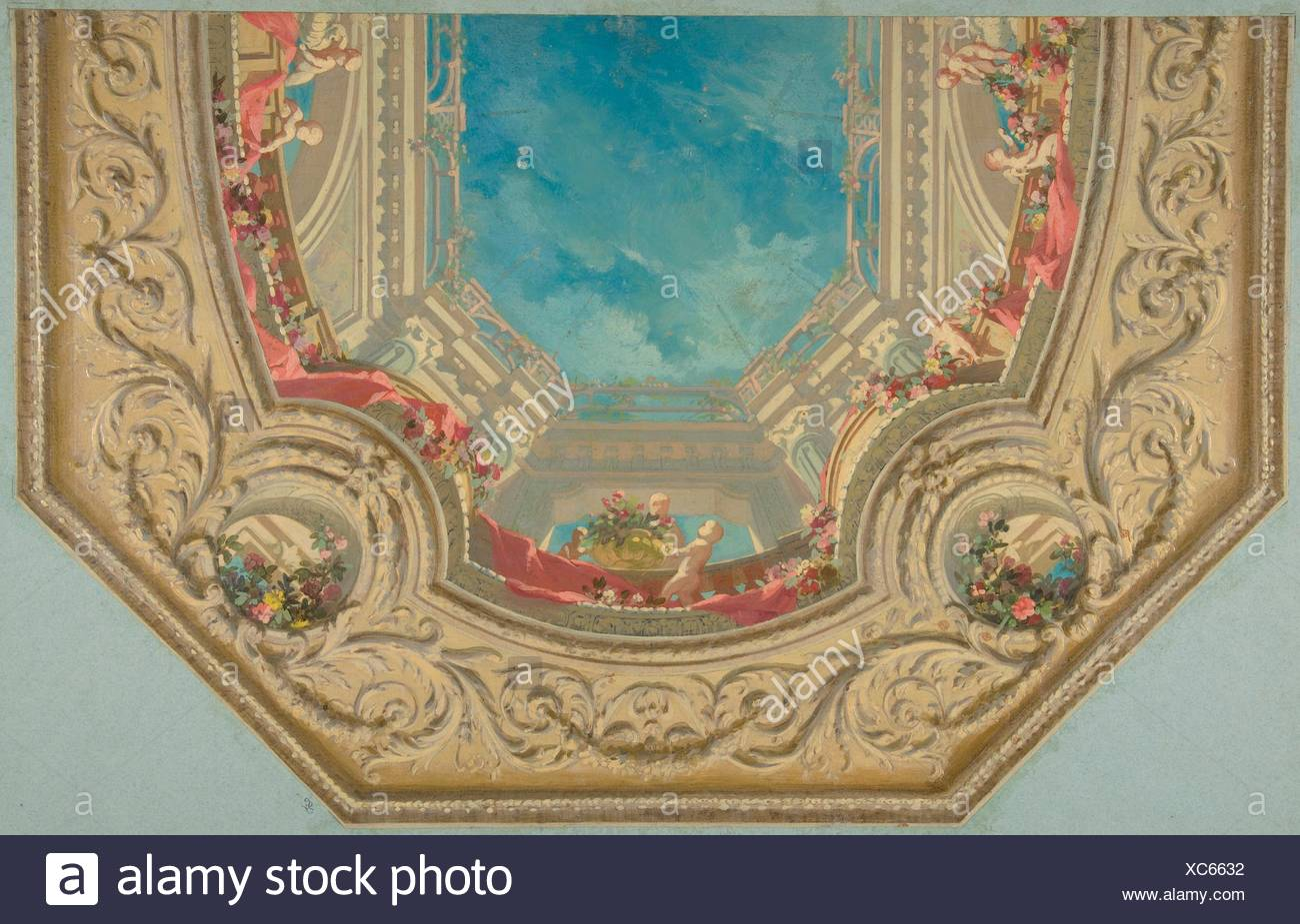 Design for Octagonal Ceiling in the Pless House, Berlin. Artist: Jules-Edmond-Charles Lachaise (French, died 1897); Artist: Eugène-Pierre Gourdet - Stock Image