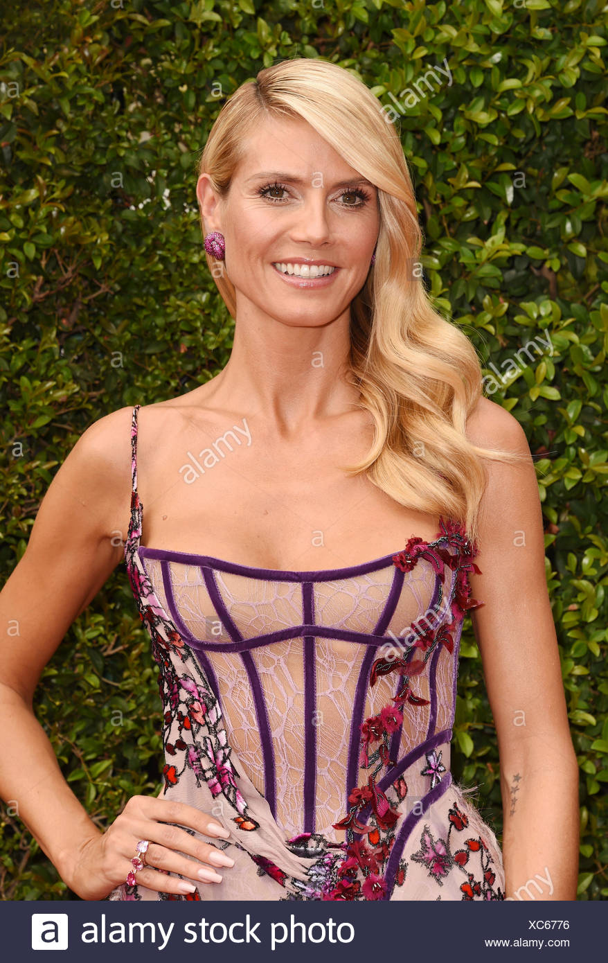 TV personality/model Heidi Klum attends the 2015 Creative Arts Emmy Awards at Microsoft Theater on September 12, 2015 in Los Angeles, California., Additional-Rights-Clearances-NA - Stock Image