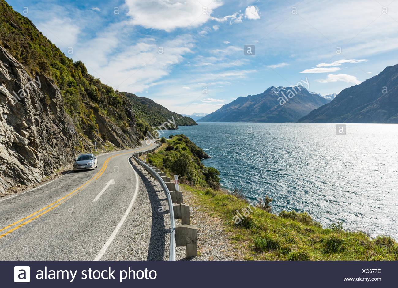 Road on Lake Wakatipu, Devils Staircase, Otago, Southland, New Zealand - Stock Image