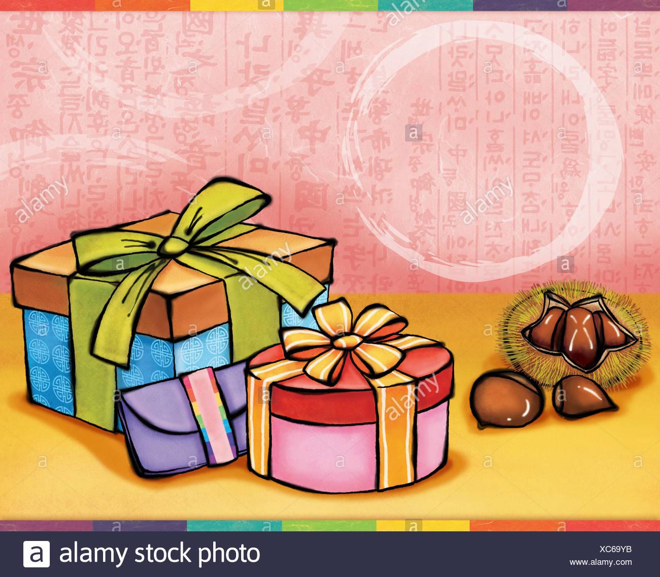 Chuseok greetings - Stock Image
