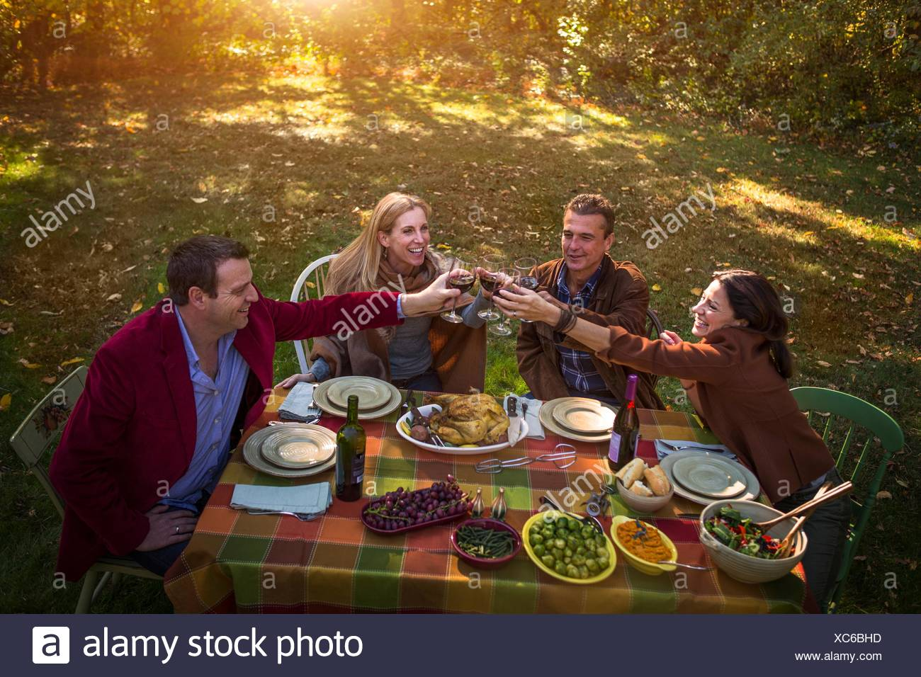 Two mature couples making a toast at garden dinner party - Stock Image