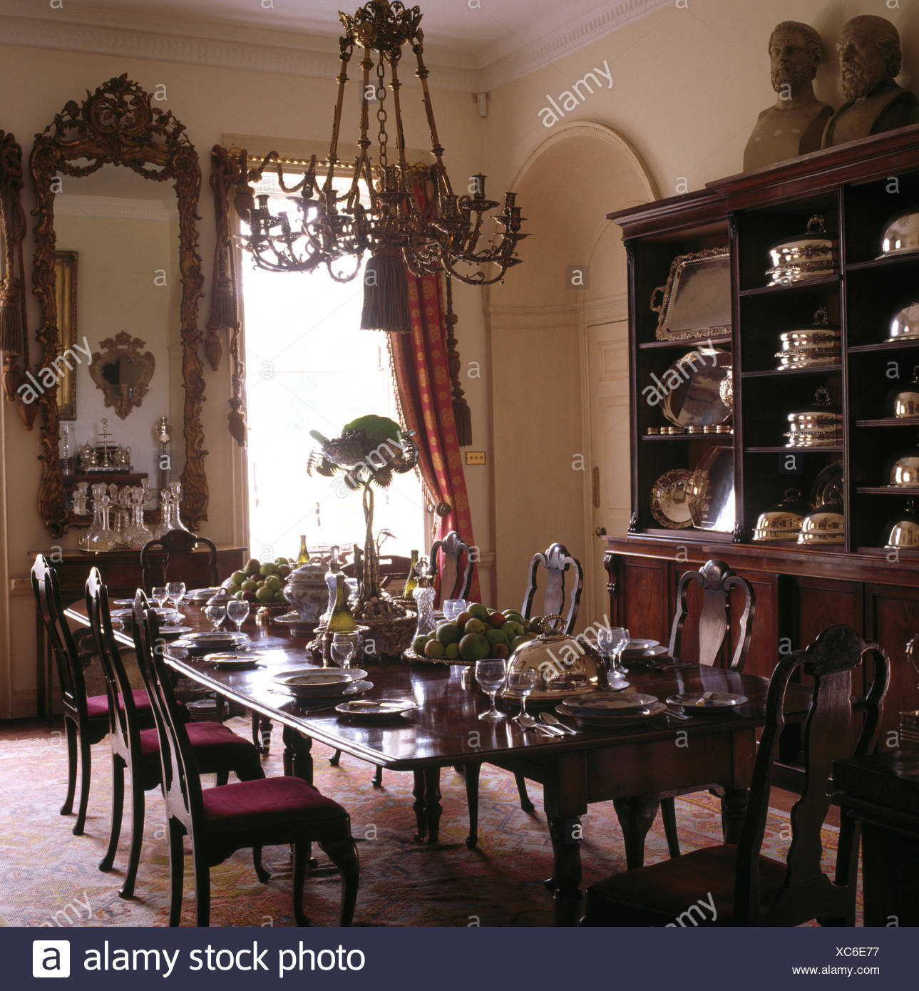 Picture of: Antique Furniture In Dining Room Of A Large Country House Stock Photo Alamy