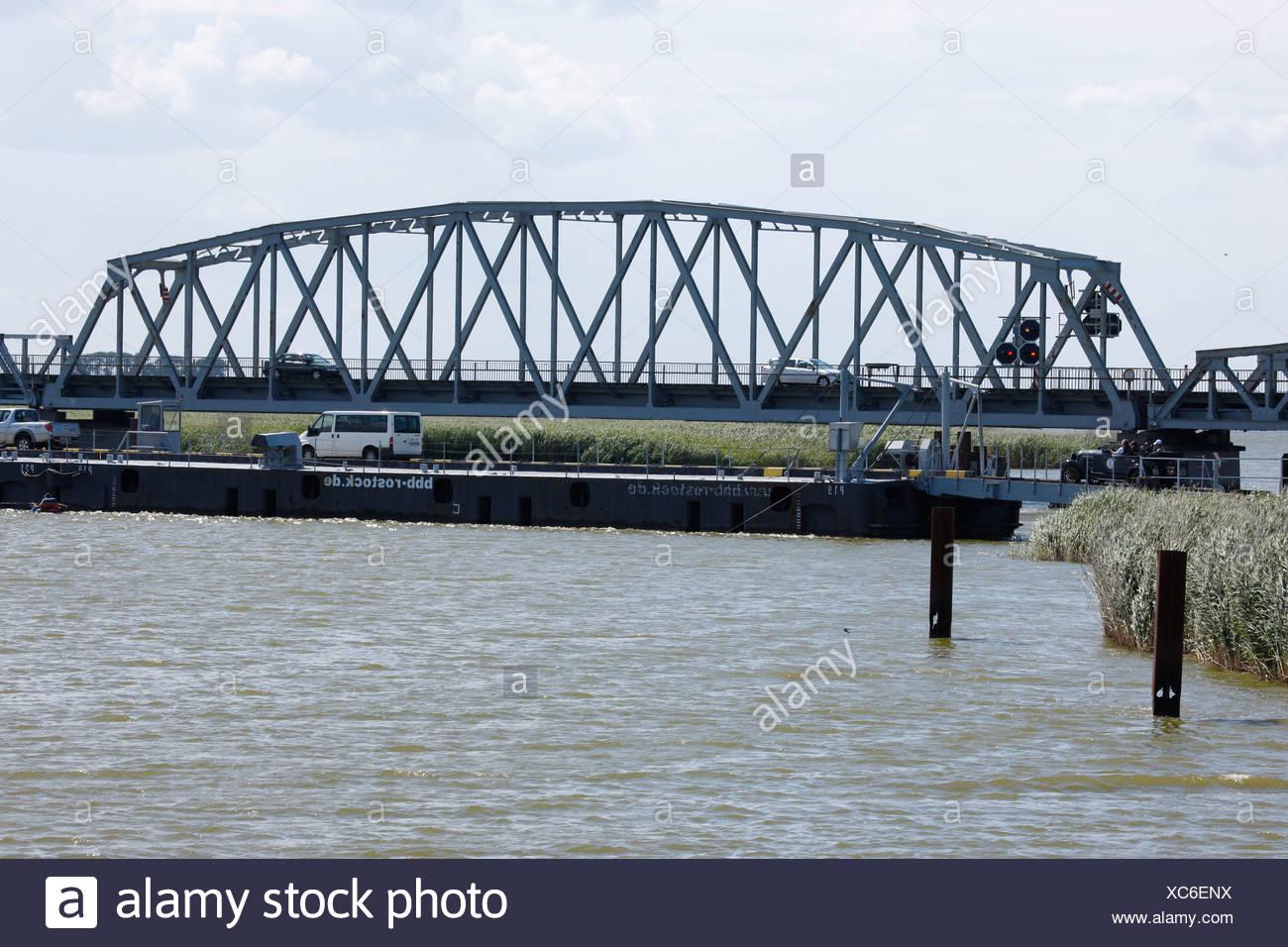 Meiningen Bridge, old railway swingbridge, Bodstedt Bodden, Western Pomerania Lagoon Area National Park, Mecklenburg-Western Po - Stock Image