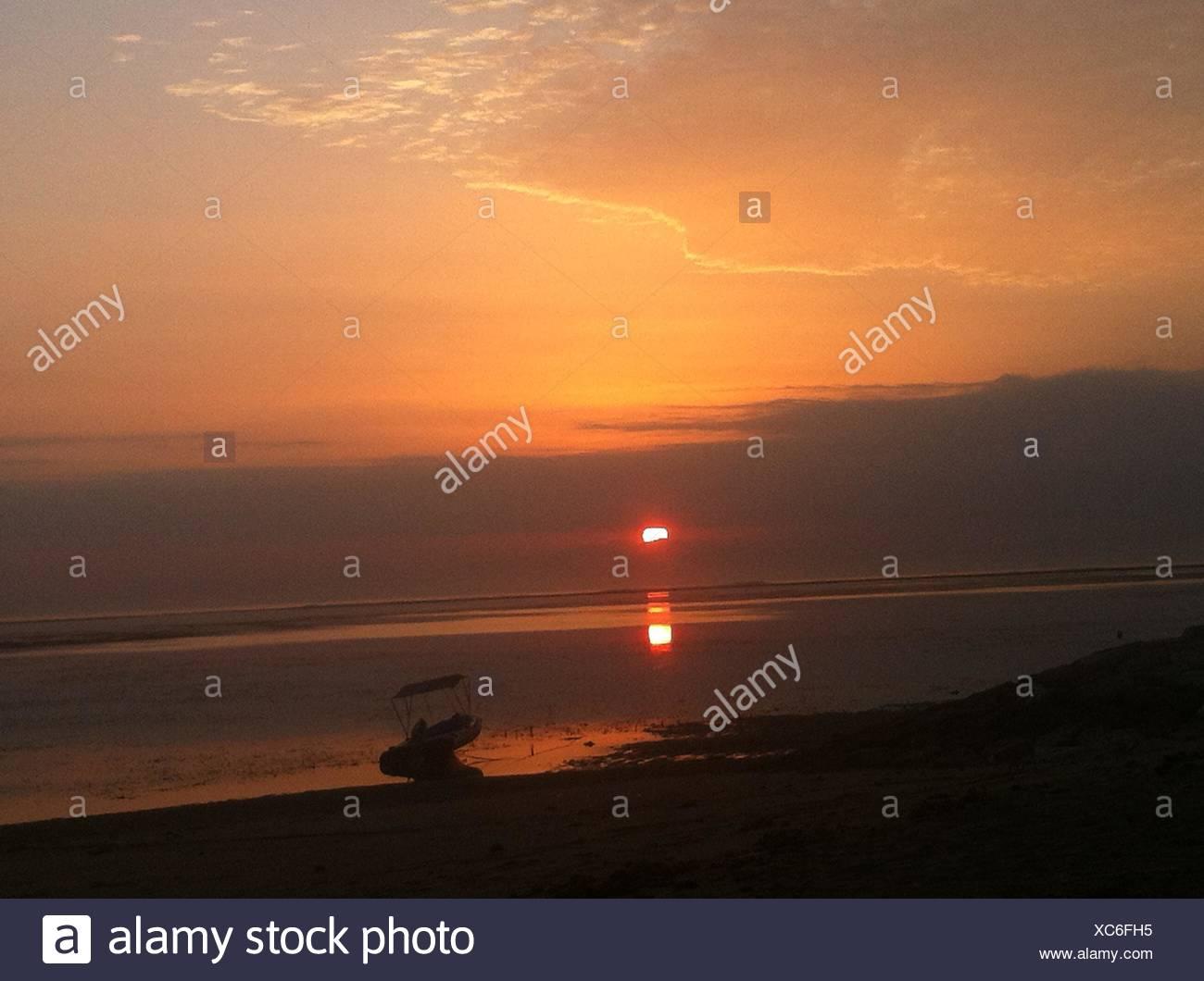 Sunrise on Meta Sari. Sunrise on Meta Sari beach, Sanur - Stock Image