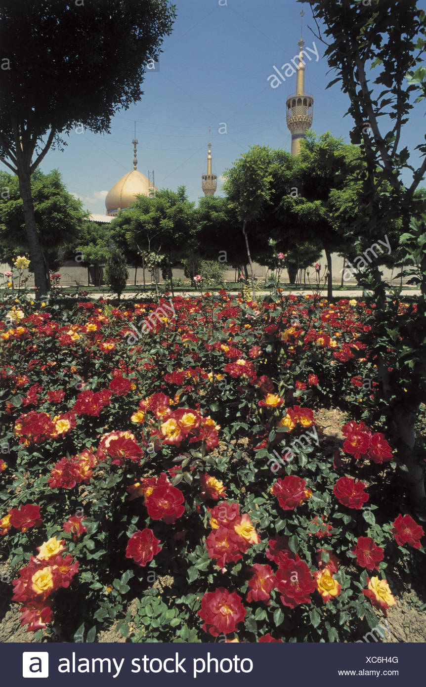Iran, Theheran, mausoleum, garden, tomb the ayatollah Khomeyni, gold, golden dome, mosque, flowers, place of interest, Persien, front East Stock Photo