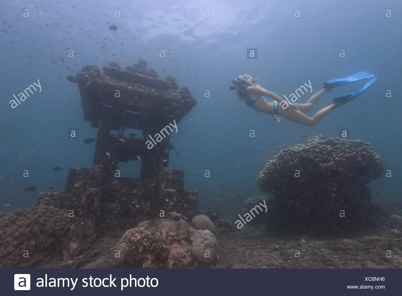 Woman snorkeling underwater by a sunken temple, Bali, Indonesia - Stock Image