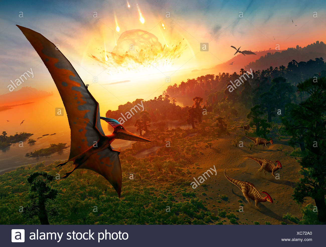 Artwork depicting the extinction of the dinosaurs some 65 million years ago Scientists are now as certain as they can be that - Stock Image