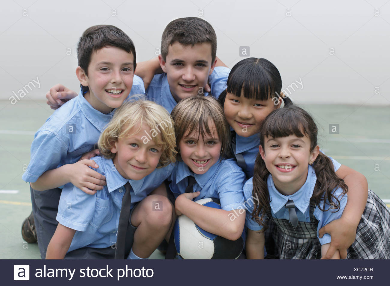 School children in group photo - Stock Image