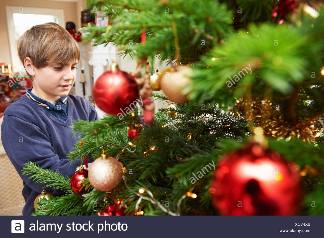 Boy decorating Christmas tree - Stock Image