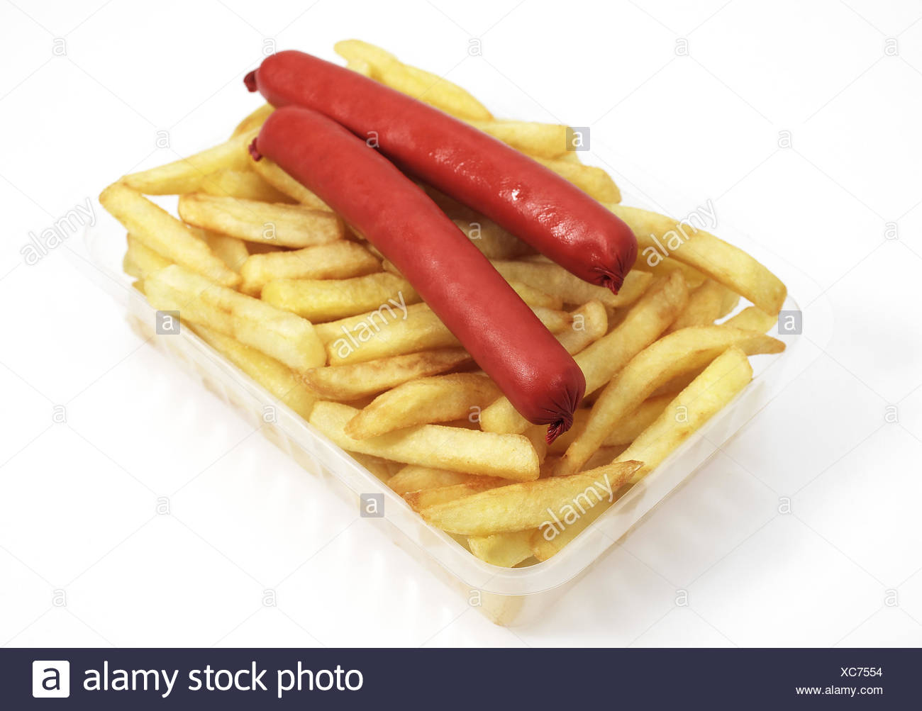 French Fries with Sausage against White Background - Stock Image
