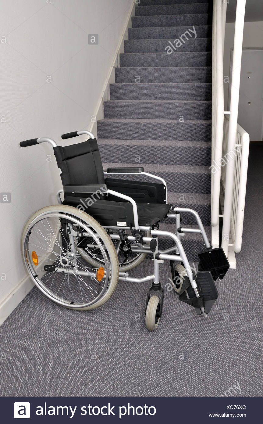 Wheel chair stairwell block ill blank stair hinders stand obstruct ...