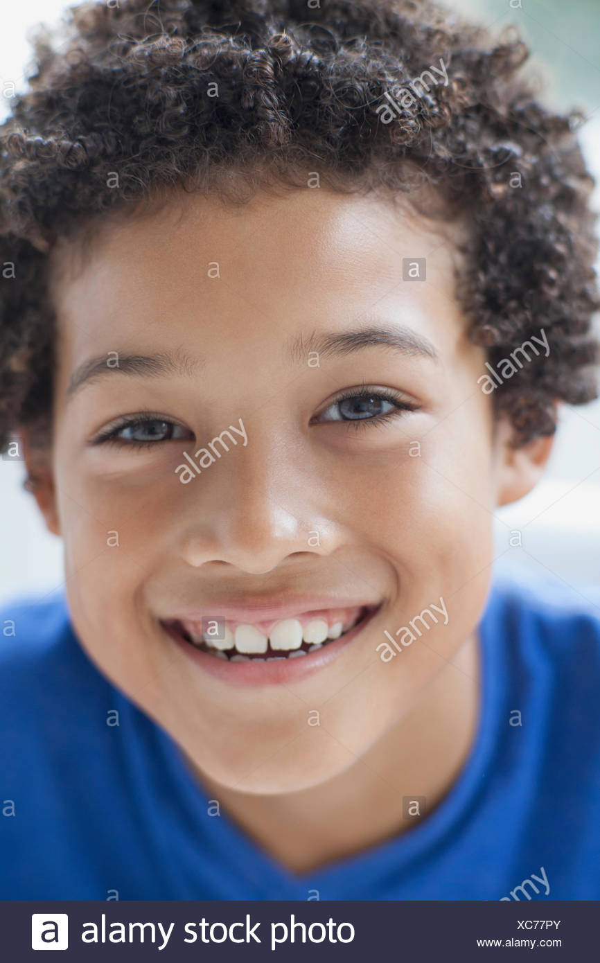 portrait of smiling preteen boy - Stock Image