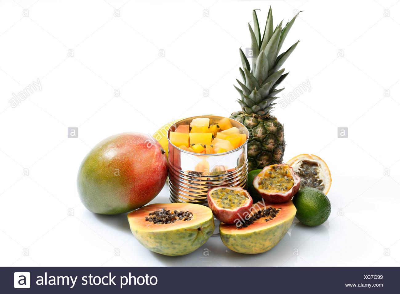 Variety of fruits on white background - Stock Image