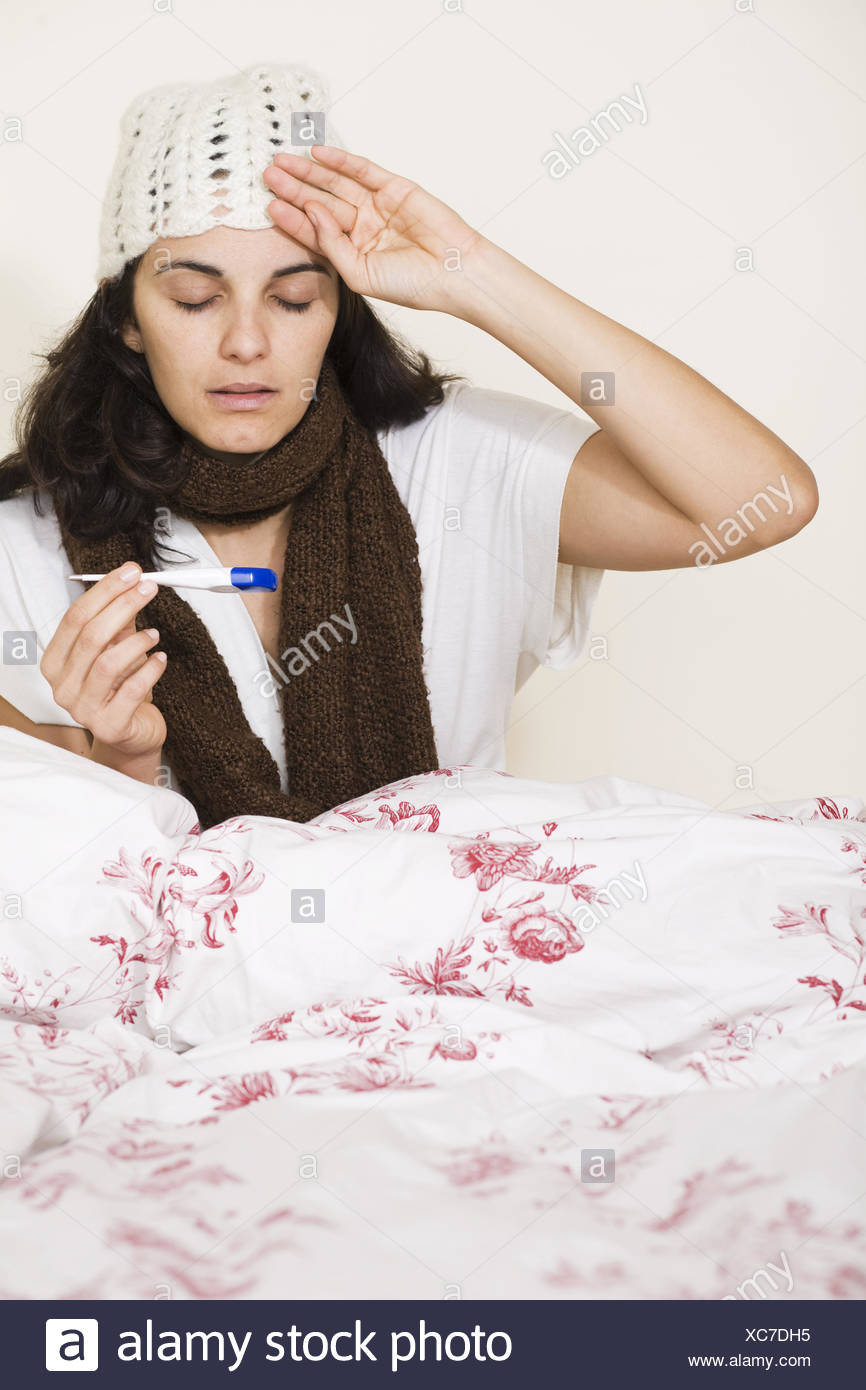 In bed with flu - Stock Image