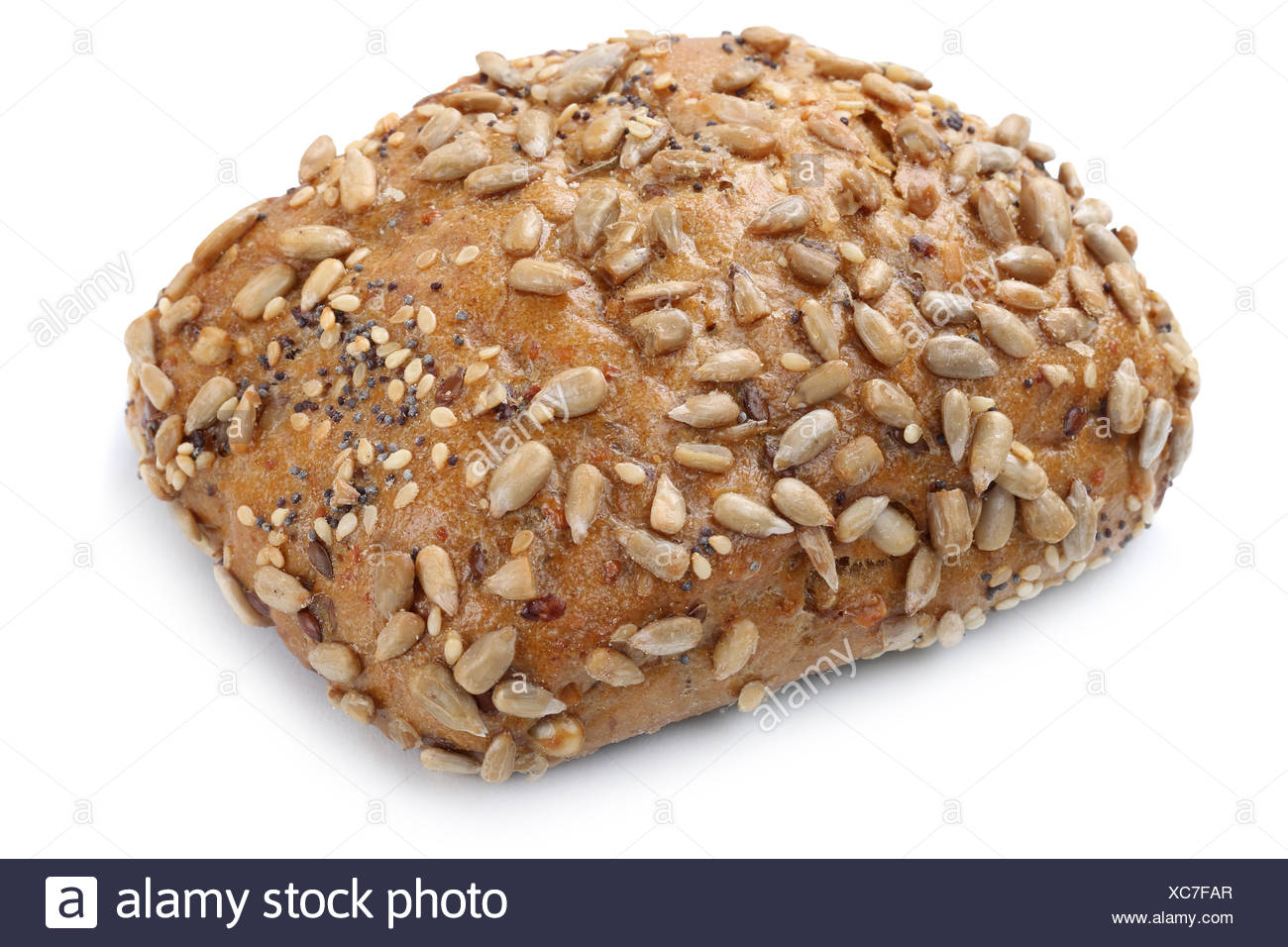 bun sandwich wholemeal isolated exempted for breakfast cut Stock Photo