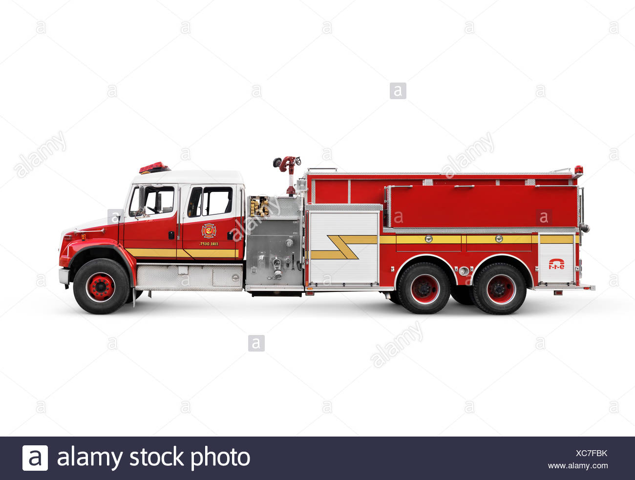 Fire truck pumper, conventional fire engine side view isolated on white background with clipping path - Stock Image