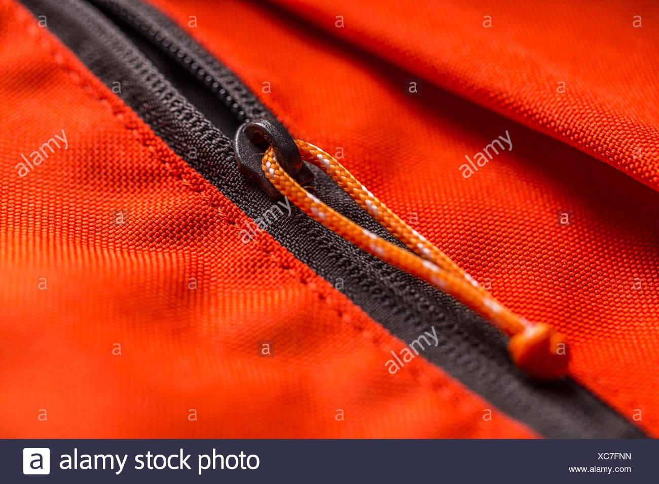 Zippered red bag pocket - Stock Image