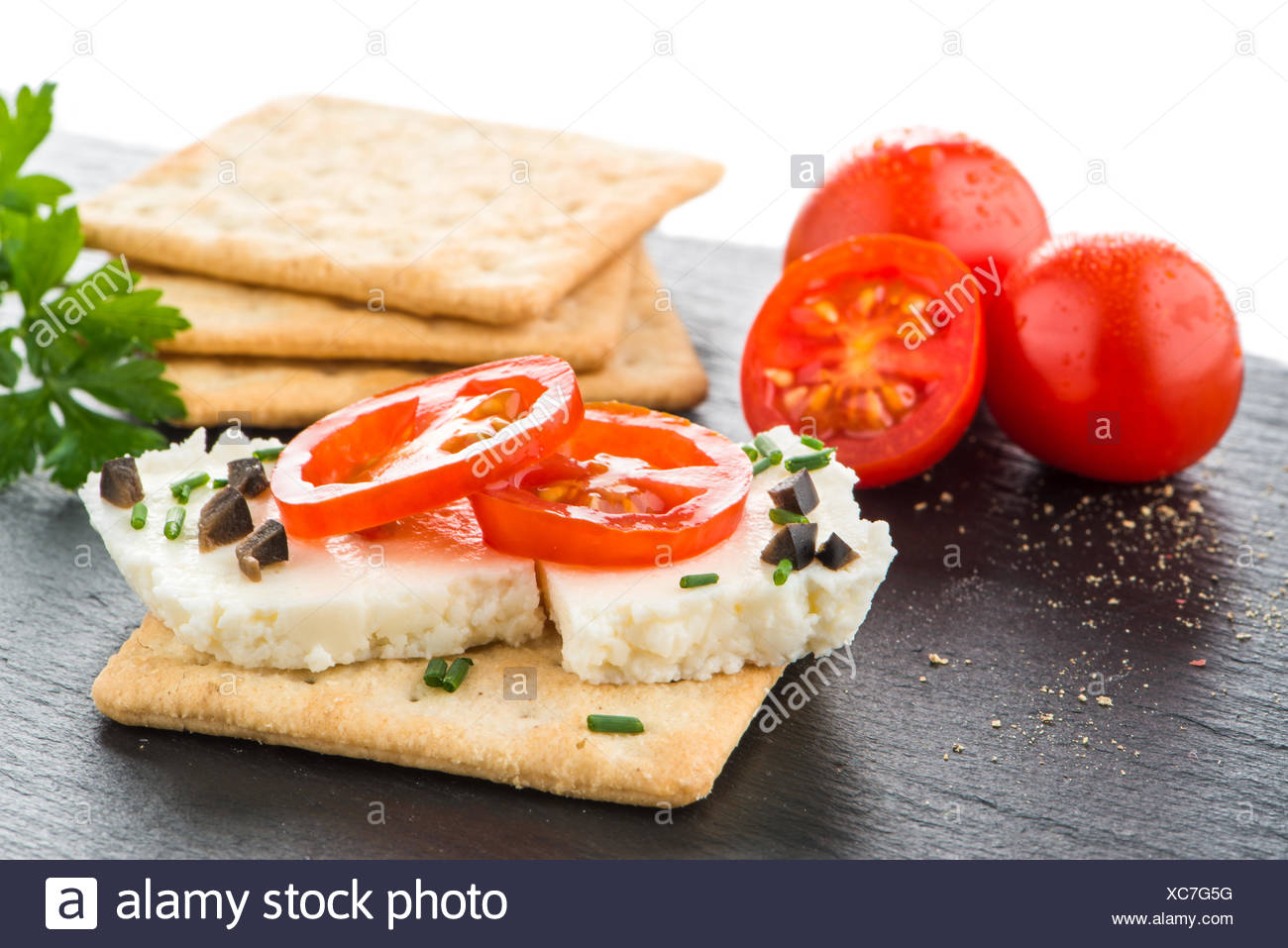 Crispbread with fromage - Stock Image