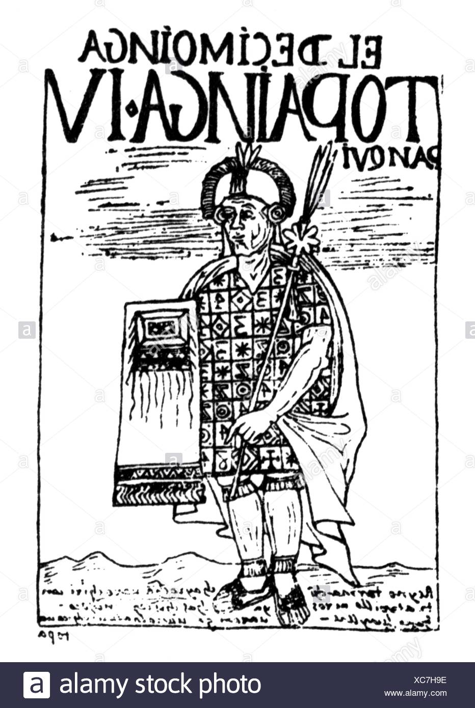 Tupac Yupanqui, + 1493, 10th ruler of Cusco 1471 - 1493, full length, pen drawing, 'El primer nueva coronica y buen gobierno' by Felipe Waman Puma de Ayala, 1615, Additional-Rights-Clearances-NA - Stock Image
