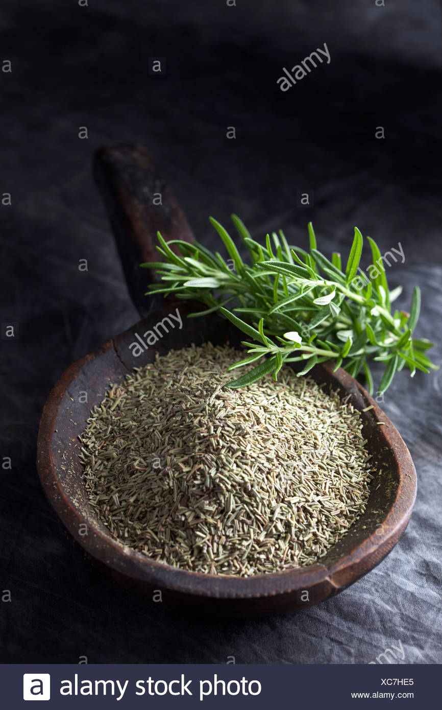 Grained rosemary in wooden spoon with rosemary herb, close up - Stock Image