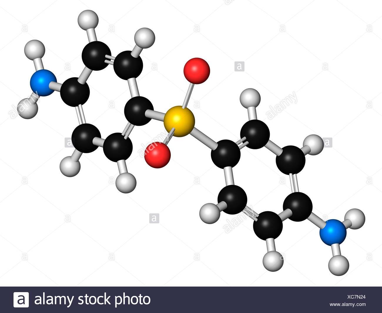Dapsone antibacterial drug molecule - Stock Image